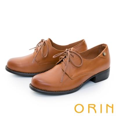 ORIN 蠟感綁帶真皮粗低跟 女 牛津鞋 棕色