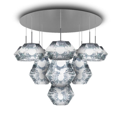 Cut Chrome Mega 菱鏡吊燈附系統吸頂座 (鉻銀)