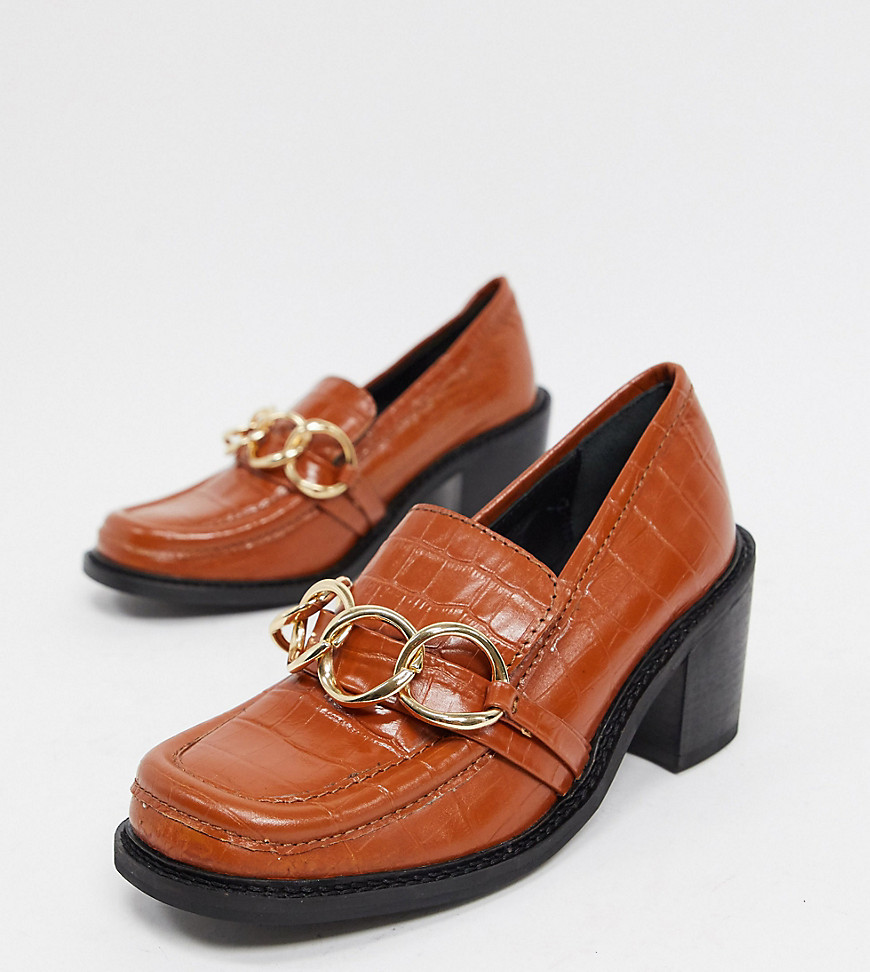 ASRA Exclusive Glaze heeled loafers with metal trim in tan leather-Brown
