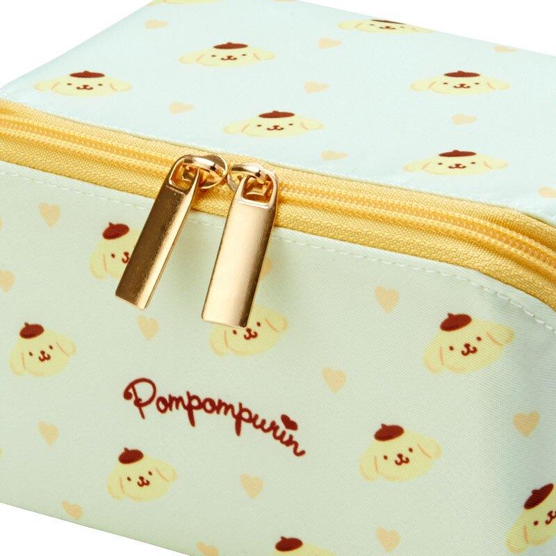 小禮堂 布丁狗 全開式方形尼龍化妝包 防水化妝包 小物包 盥洗包 (黃)