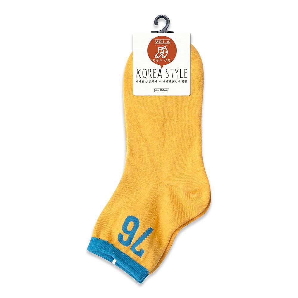 VOLA 數字76對比配色 棉質舒適 韓風襪(金褐)【康是美】