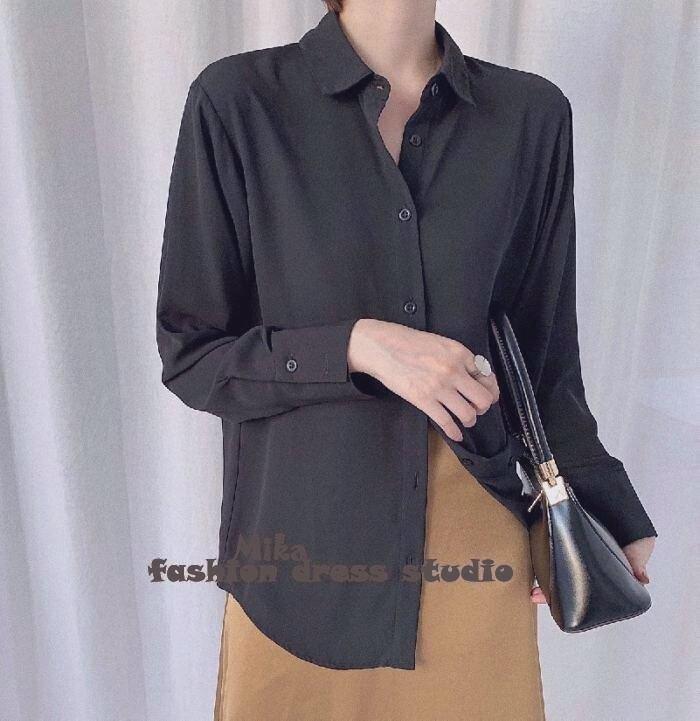 依米迦 襯衫 雪紡襯衫新款韓版寬鬆顯瘦打底衫黑色職業OL百搭上衣