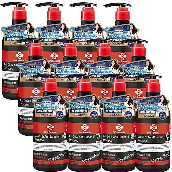 【南紡購物中心】《台塑生醫》Dr's Formula控油抗屑洗髮精升級版(激涼款)580g*12瓶