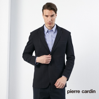 Pierre Cardin皮爾卡登 男裝 彈力針織休閒西裝外套-黑色(5195502-39)