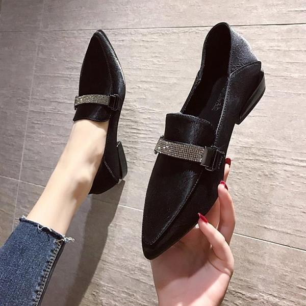 牛津鞋/紳士鞋 樂福鞋女2020新款夏季百搭低跟英倫小皮鞋子女鞋水鉆粗跟方頭單鞋