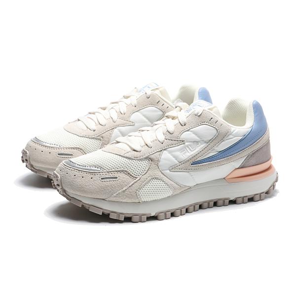 FILA 休閒鞋 ZAGATO 米白 粉藍 麂皮拼接 情侶款 復古鞋 女 (布魯克林) 4C624U912