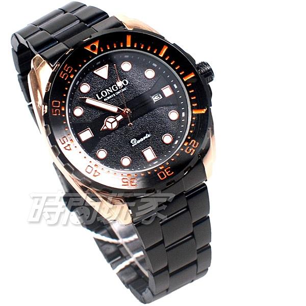 LONGBO龍波 粗曠霸氣 時尚流行 加強夜光 腕錶 男錶 中性錶 日期顯示窗 IP黑電鍍 L80795-1