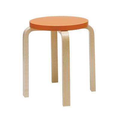 Stool E60 Paimio 四腳圓凳(橙橘)