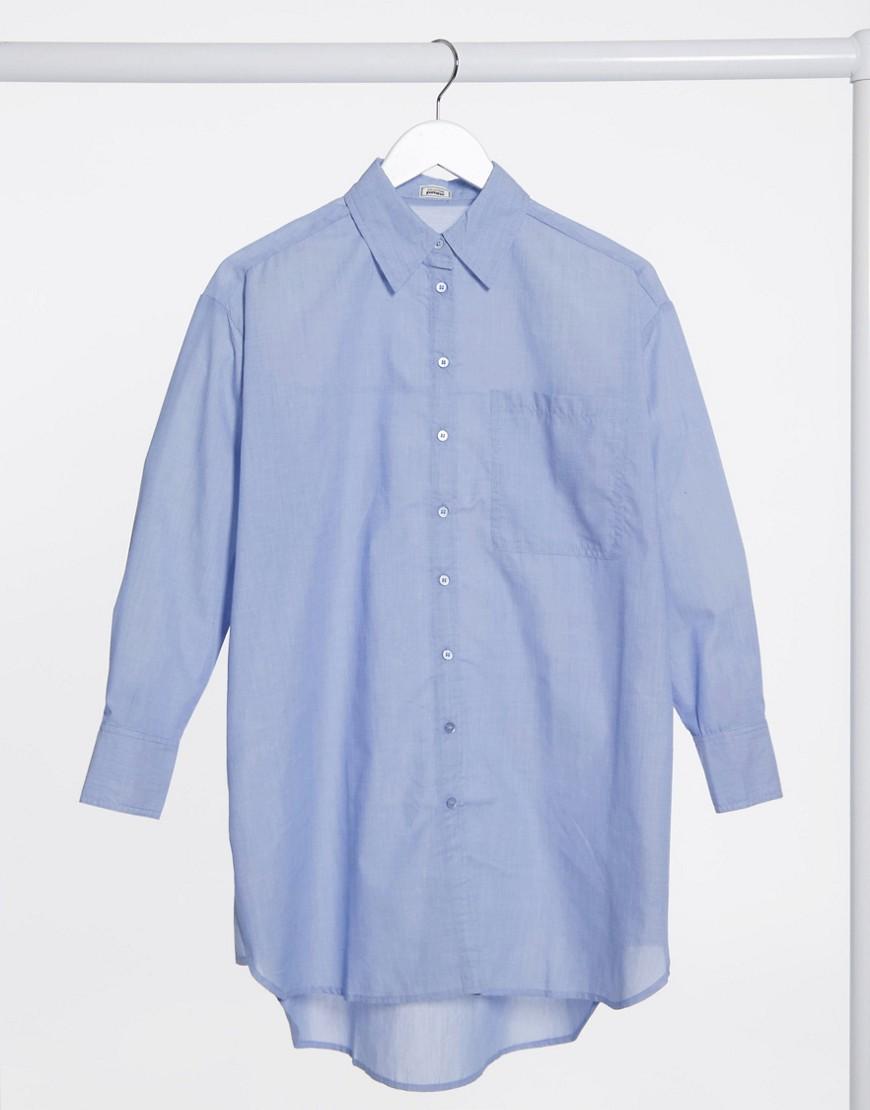 Pimkie oversized poplin longline shirt in blue