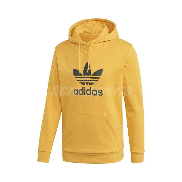 adidas 長袖T恤 Originals Trefoil Hoodie 黃 黑 男款 帽T 運動休閒 【ACS】 GD9923