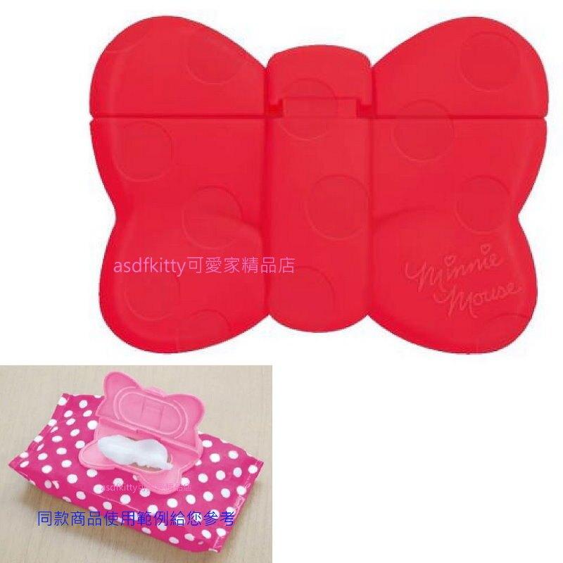 asdfkitty*米妮的蝴蝶結造型紅色濕紙巾蓋-可重複黏貼-隨身包.溼拖巾.廚房油污濕巾.也可使用-日本製