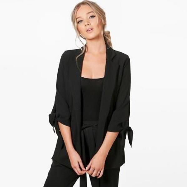 【南紡購物中心】《D Fina 時尚女裝》袖部小繫帶 西裝版修身OL外套 (3色)