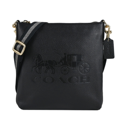 COACH 大馬印浮雕馬車方形寬織布背帶斜背包(黑)
