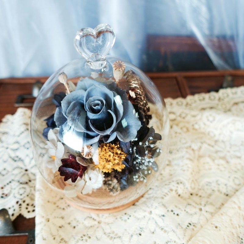 愛心玻璃盅 不凋花+乾燥花 情人節 開幕 生日 母親節 祝賀