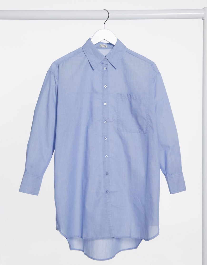 Pimkie oversized poplin longline shirt in blue