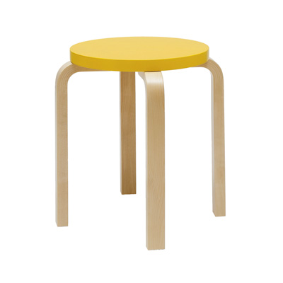 Stool E60 Paimio 四腳圓凳(鮮黃)