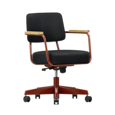 Fauteuil Direction Pivotant 工作椅(黑座面、東洋紅椅腳)