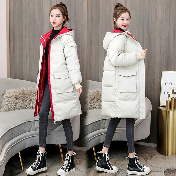 中長款女生外套 女士外套保暖 韓版外套羽絨外套 冬季加厚上衣潮流棉服 寬鬆夾克外套加絨