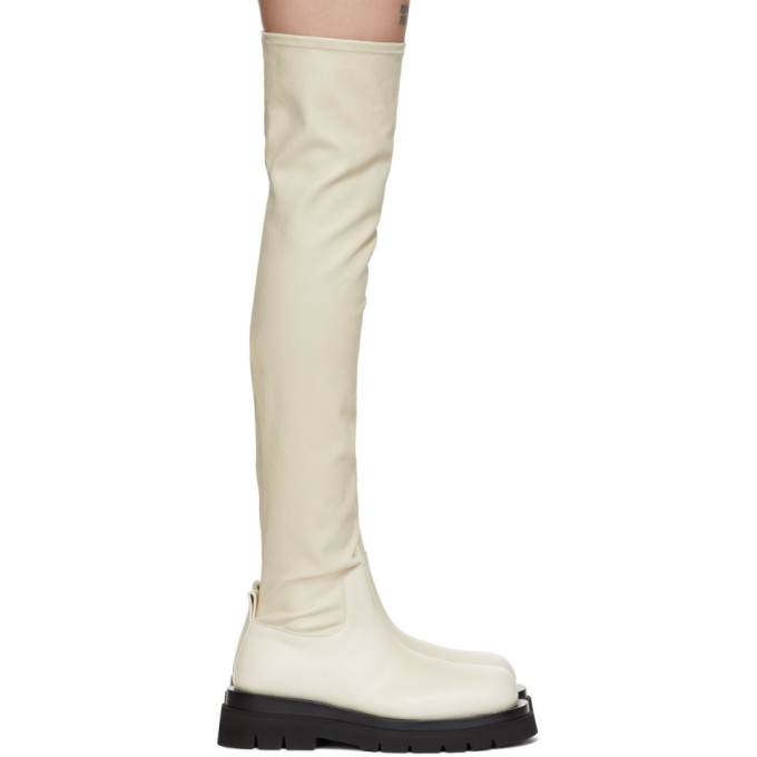 Bottega Veneta 灰白色 OTK Combat 高筒靴