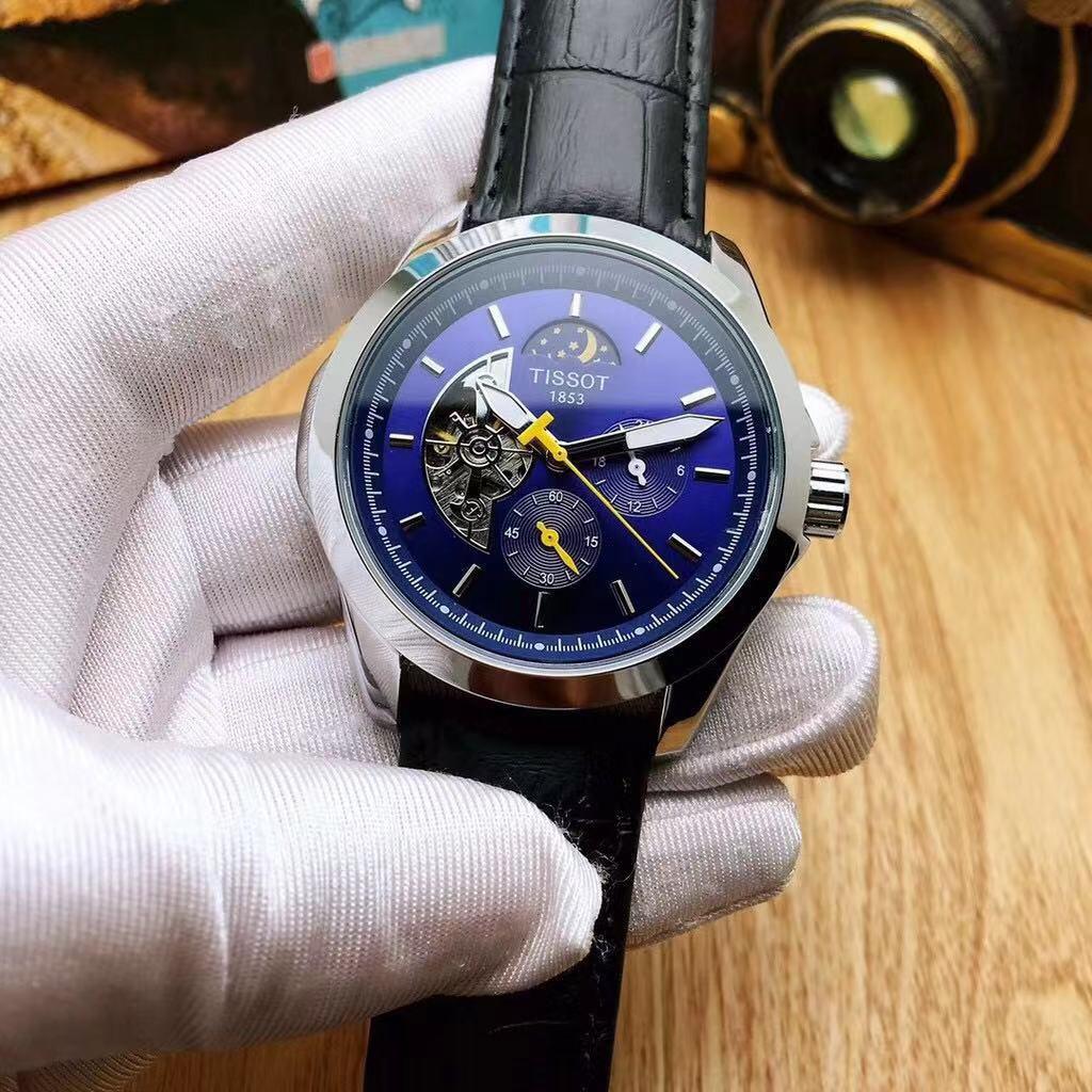 【思妤精品】海外代購TISSOT天梭 男士全自動機械 日月星辰 機械錶 飛輪 夜光 商務手錶 時尚百搭