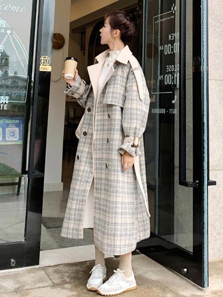 格子西裝 女中長款冬季新款小個子復古格子韓版寬鬆加厚呢大衣 阿宅便利店