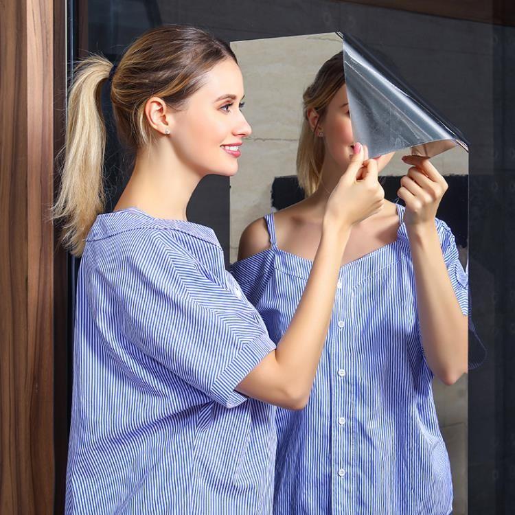 九月特惠 鏡面貼紙墻貼玻璃軟鏡子墻紙自黏宿舍家用全身衛生間反光玻璃鏡貼【優派3c】