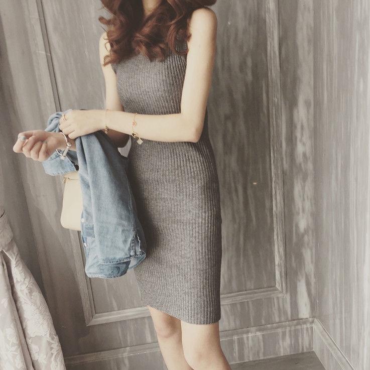 針織連衣裙修身無袖純色包臀背心裙性感彈力打底中長裙子