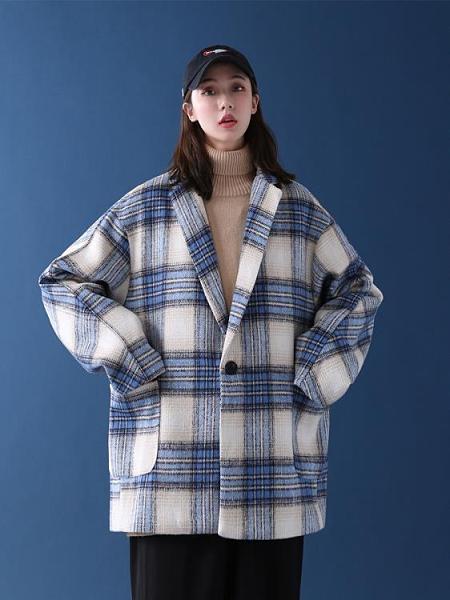 格子西裝 外套年新款女秋冬百搭格子西裝大衣外套 阿宅便利店