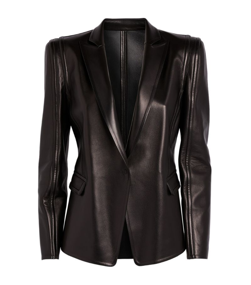 Valentino Leather Single-Breasted Blazer