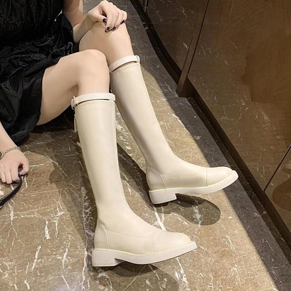 長筒靴女2020新款秋款白色高筒前拉鏈不過膝長靴中筒小個子騎士靴 喜迎新春