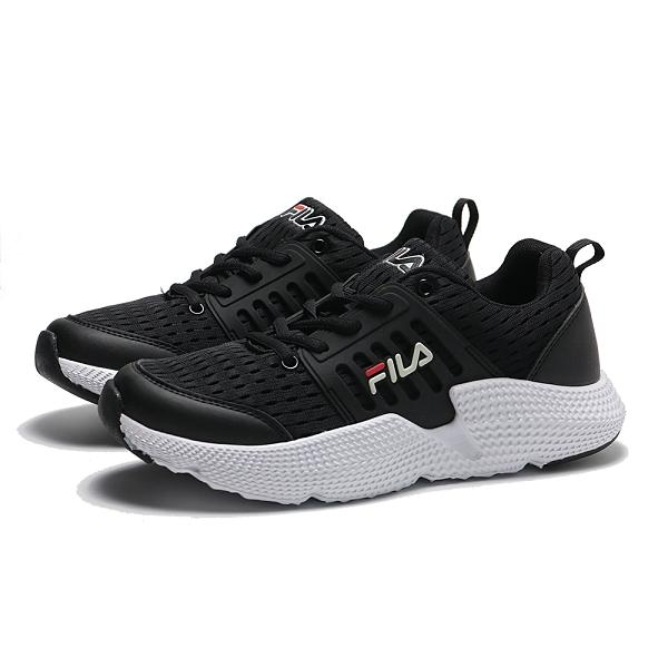 FILA 休閒鞋 黑白 輕量 網布 運動 慢跑鞋 男 (布魯克林) 1J314T001