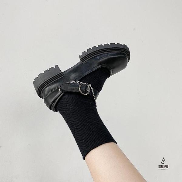 粗跟皮鞋女素色方頭時尚韓版百搭大頭單鞋【愛物及屋】