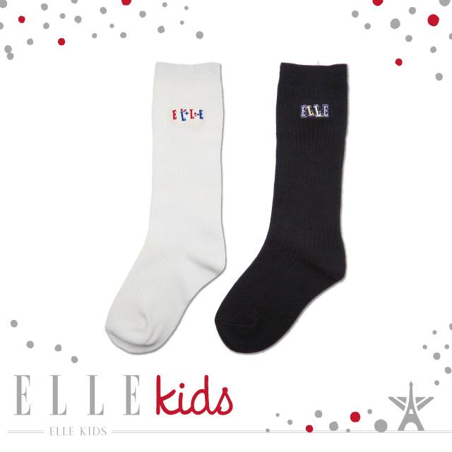 ELLE KIDS刺繡小小人兒中統童襪-2入組