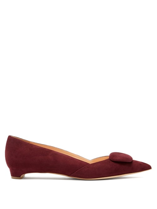 Rupert Sanderson - Aga Point-toe Suede Flats - Womens - Burgundy