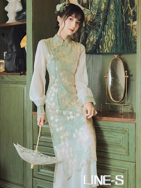 年輕改良版旗袍復古氣質溫柔網紗洋裝早秋季新款仙少女超仙森系