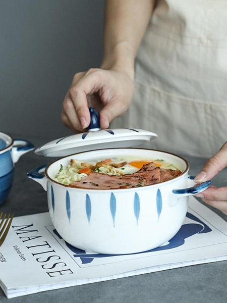 泡麵碗 WUXIN泡面碗帶蓋陶瓷家用碗單個學生宿舍日式創意湯碗拉面碗面碗 晶彩