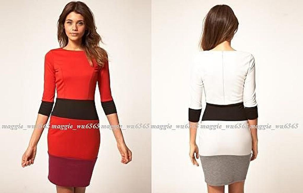 折扣.ASOS.七分袖撞色寬腰封顯瘦連身合身窄裙洋裝 禮服.紅黑 UK14 現貨在台.ASOS
