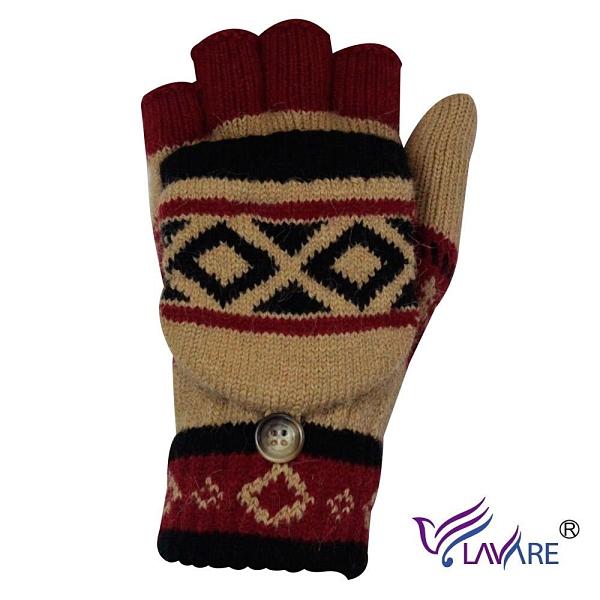 【南紡購物中心】LAVARE-半指戴帽手套 原民圖紋卡其