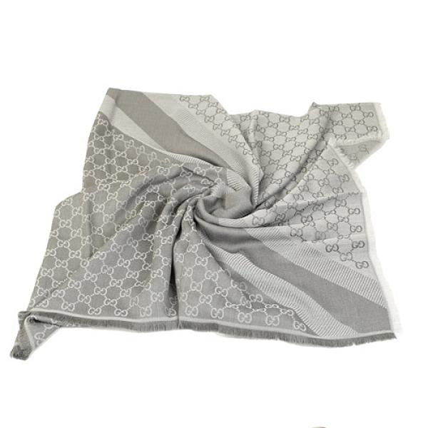 GUCCI LOGO絲羊毛方型流蘇披巾 140*140(淺灰)