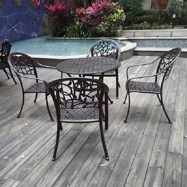 【南紡購物中心】BROTHER兄弟牌 巴塞隆納鋁合金90cm圓型庭院1桌4椅組