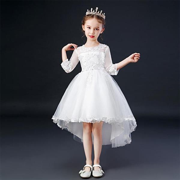 兒童秋裝新款拖尾連身裙小女孩洋氣公主裙中大童燕尾晚禮服蓬蓬裙 百分百