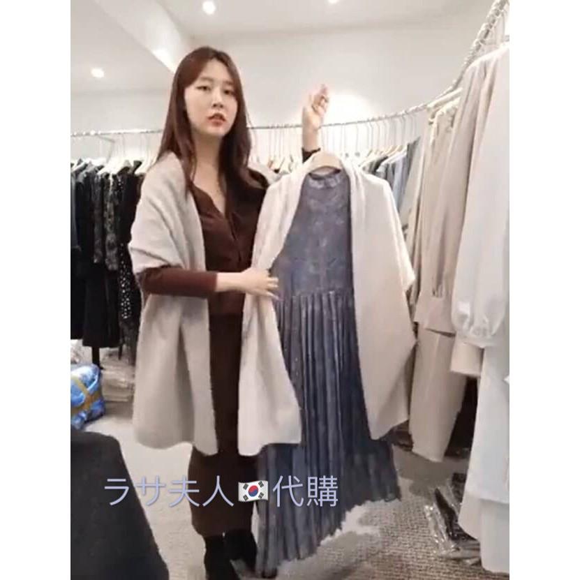 杏色現貨(2020冬新款)拉薩夫人◎韓國連線商品 50%多用途羊毛款 側釦設計披肩、圍巾、外套