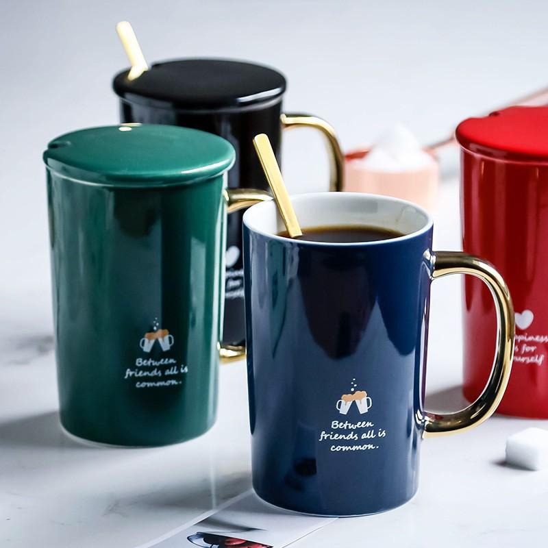 WUIXIN馬克杯帶蓋辦公室杯子陶瓷情侶咖啡杯歐式小奢華大容量水杯