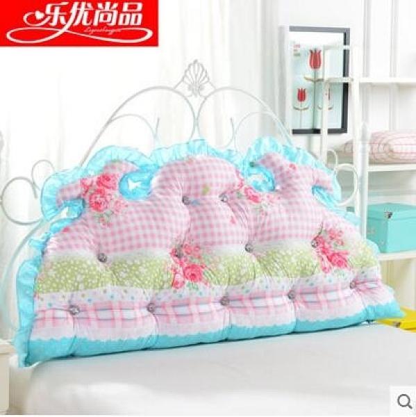 ( 促銷95折 ) 韓式田園公主床頭大靠背 全棉大靠墊 純棉床上雙人長靠枕【120x65cm龍角款】
