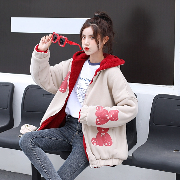 小熊棉服女生外套 少女女士外套 羽絨外套韓版外套 學院風加厚冬季上衣 兩面穿夾克外套加絨