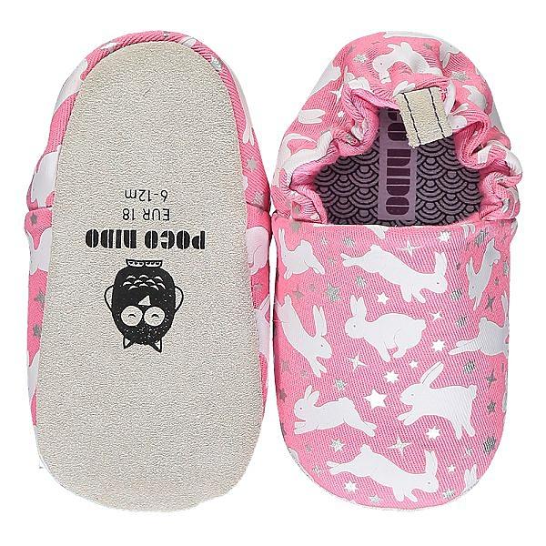 英國POCONIDO 手工鞋|嬰兒鞋|學步鞋-粉紅兔兔(6~24M)