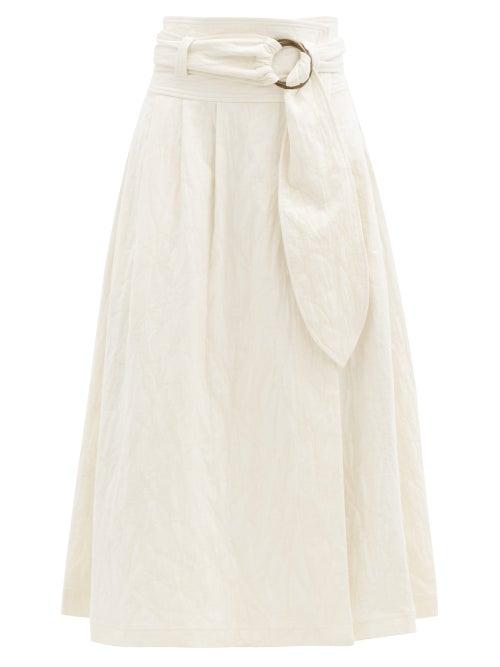 Mara Hoffman - Esperanza Belted Organic Cotton-blend Midi Skirt - Womens - Ivory