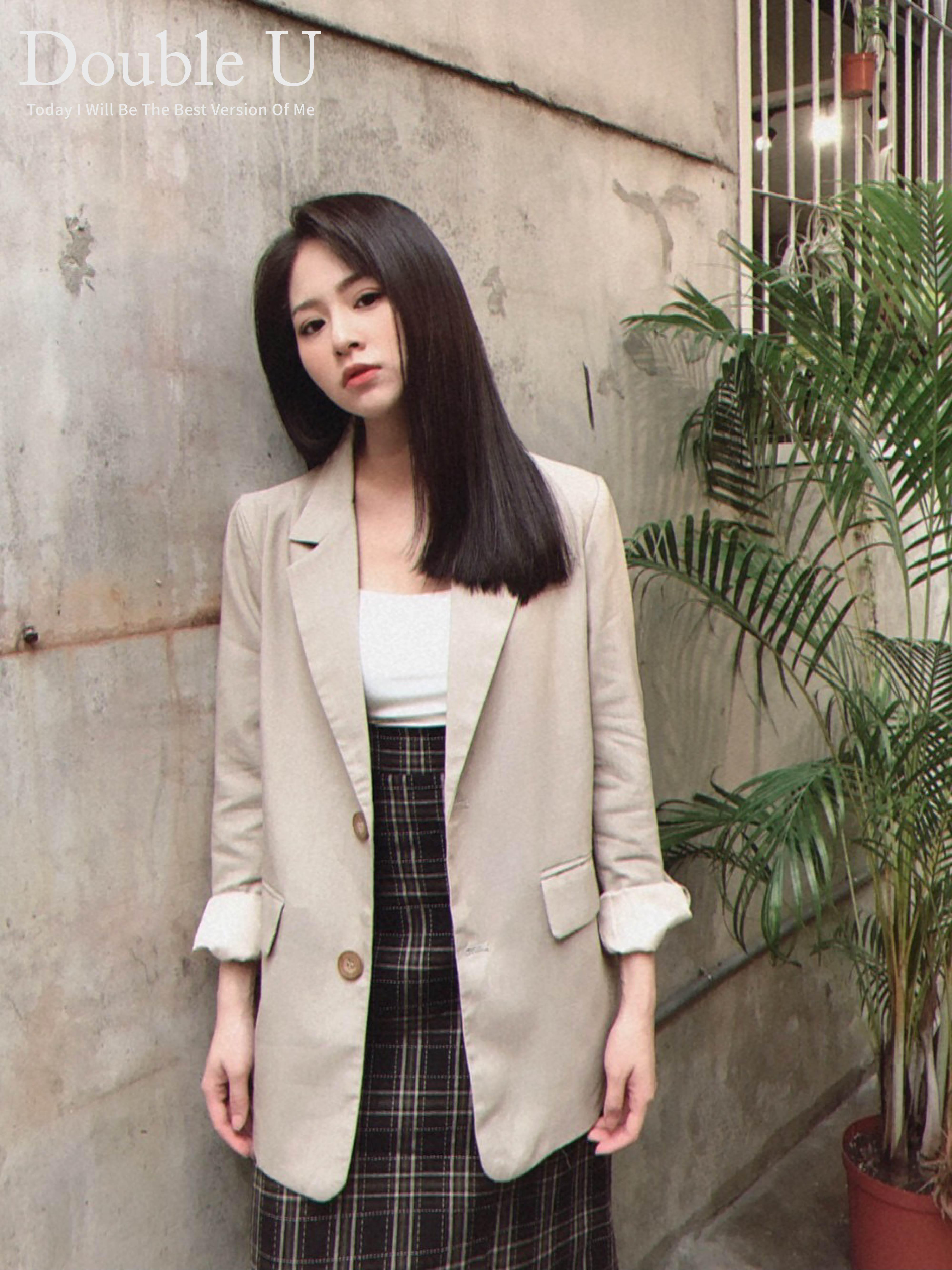 【double U 】現貨+預購 韓妞熱款~顯瘦薄款西裝外套卡其色