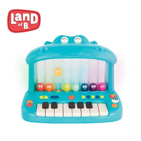 美國【B.Toys】噴氣河馬彈鋼琴 鋼琴玩具 生日禮物-米菲寶貝