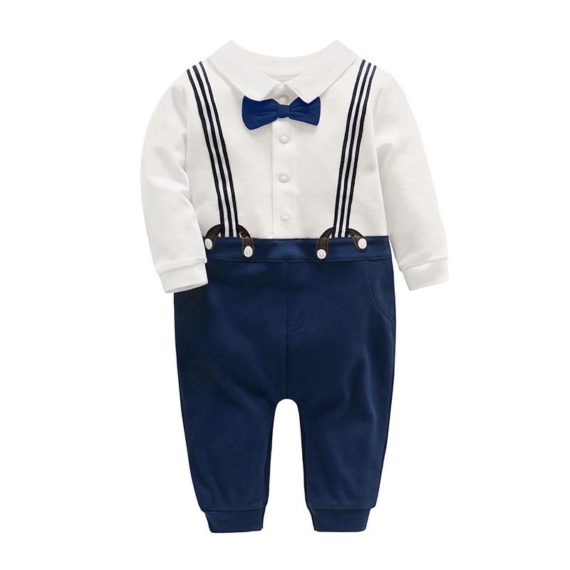 Vlinder童裝男寶寶周歲背帶褲領結超柔棉質廓形帥氣紳士連身衣